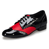 Customizable Men's Dance Shoes Jazz / Dance Sneakers / Tap / Modern Leather Chunky Heel Black / Red / White(Fur bottom)