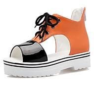 Sandály-Koženka-S otevřenou špičkou / Platformy-Dámská obuv-Růžová / Bílá / Oranžová-Šaty / Běžné / Party-Platformy
