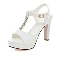 Sandály-Koženka-Podpatky / Platformy / S páskem / Otevřená špička-Dámská obuv-Černá / Modrá / Růžová / Bílá / Béžová-Šaty / Party-Vysoký