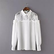 Langermet Skjorte Skjortekrage Lapper Polyester Kvinner