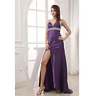 Formal Evening Dress Trumpet / Mermaid V-neck Court Train Charmeuse with Beading / Split Front / Side Draping