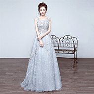 Formal Evening Dress-Silver A-line Scoop Court Train Lace
