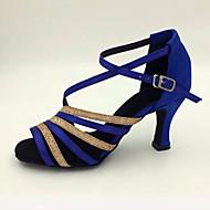 Obyčejné-Dámské-Taneční boty-Latina-Satén-Vysoký úzký-Modrá