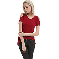 Chinanuo Women's Sexy Off Shoulder Fishtail hem T-shirt (Cotton)