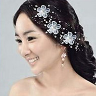 6 PCS Bride's Flower Shape Rhinestone Pearl Wedding Hair Clip Accessories