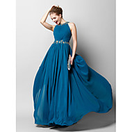 TS Couture® Formal Evening Dress - Ocean Blue Sheath/Column Jewel Floor-length Chiffon