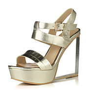 Women's Shoes Leather Wedge Heel Wedges / Peep Toe / Platform Sandals Party & Evening / Dress / Casual Silver / Gold