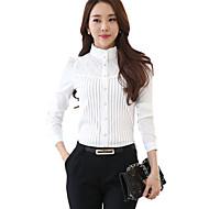 De las mujeres Un Color Camisa-Escote Chino-Poliéster-Manga Larga