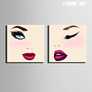 E-HOME® Stretched Canvas Art Eyes And Lips Decoration Painting  Set of 2