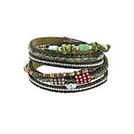 Dames Wikkelarmbanden Lederen armbanden Luxe Sieraden Leder Strass imitatie Diamond Legering Groen Sieraden VoorBruiloft Feest Dagelijks