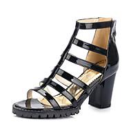Lakovaná kůže-Platformy-Dámské Dívčí-Bílá Černá Stříbrná Šedá-Šaty Běžné Party-Kačenka Platformy Block Heel