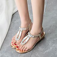 Women's Summer Flip Flops Leatherette Outdoor Casual Wedge Heel Crystal Silver Gold