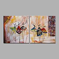 Pintados à mão Abstrato Pessoas Horizontal Panorâmica,Moderno 2 Painéis Tela Pintura a Óleo For Decoração para casa