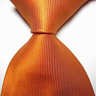 New Solid Orange Checked JACQUARD WOVEN Men's Tie Necktie TIE2037