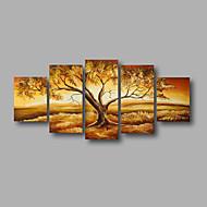 Kézzel festett Absztrakt / Landscape / Absztrakt tájképModern Öt elem Vászon Hang festett olajfestmény For lakberendezési