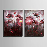 Mini Size E-HOME Oil painting Modern Red Flowers Pure Hand Draw Frameless Decorative Painting
