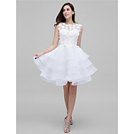 TS Couture® Cocktail Party Dress - Ivory A-line Jewel Knee-length Tulle