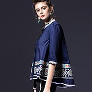 Opstaand-Katoen-Geborduurd-Vrouwen-Overhemd-Halflange mouw