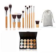 11pc bambus rukojeť a nylon vlasy kosmetické make-up štětec set a 15 barev korektor