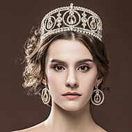 Luxury Women's Rhinestone Wedding Bridal Tiaras Earning set Golden Party Headpiece HG2359