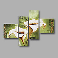 """Ready to Hang Stretched Hand-painted Oil Painting 64""""x44"""" Canvas Wall Art Modern Flowers Light White Lily"""