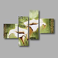 מצויר ביד מופשט / פרחוני/בוטנימודרני ארבעה פנלים בד ציור שמן צבוע-Hang For קישוט הבית