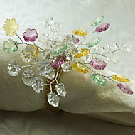 Crystal Beaded Flower Decoration Napkin Ring, Acrylic, 1.77Inch, Set of 12