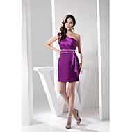 Cocktail Party Dress Sheath/Column One Shoulder Short/Mini Charmeuse