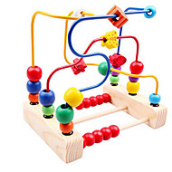 Wooden Beads Around Three Toy Line Around the Flower Bead Frame Baby Toy for Children Classic Teddy