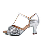 Customizable Women's Dance Shoes Latin Leatherette Stiletto Heel Silver / Gold