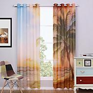 שני פנאלים מודרני טבע ונופים צבעוני חדר שינה פוליאסטר Sheer וילונות גוונים