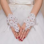 K zápěstí Bez prstů Rukavice Krajka Pro nevěstu Party rukavičky Korálky Nášivky Kamínky Krajka