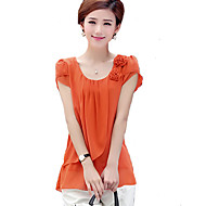 Women's Casual/Daily Plus Size / Street chic Summer Blouse,Solid Round Neck Short Sleeve Blue / Green / Orange Polyester Thin