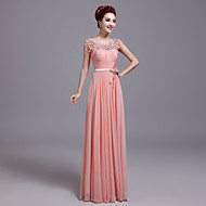 Formal Evening Dress Sheath / Column Jewel Floor-length Chiffon / Lace with Bow(s) / Lace
