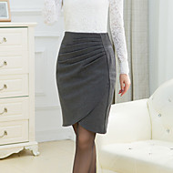 Women's Solid Red / Black / Gray Skirts,Plus Size / Work Above Knee