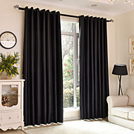 Two Panels Modern Solid Bedroom Polyester Blackout Curtains Drapes