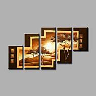 """allungato (pronto da appendere) pittura a olio dipinta a mano 60 """"x36"""" arte muro di tela moderna alberi astratti marrone"""