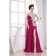 Formal Evening Dress Sheath / Column One Shoulder Floor-length Chiffon / Lace / Charmeuse with Appliques / Beading / Side Draping