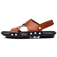 Men's Spring Summer Fall Comfort Leather Outdoor Casual Flat Heel Studded Black Brown White