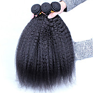 "3Pcs Lot 10-26"" Unprocessed Raw Peruvian Virgin Human Hair Weave Kniky Straight Color Natural Black Hair Bundles"