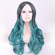 perruque cosplay Europe et en Amérique lolita lolita harajuku hradient noir cosplay vert cheveux bouclés