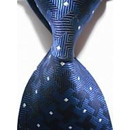 New Checked Blue White JACQUARD WOVEN Men's Tie Necktie #3012