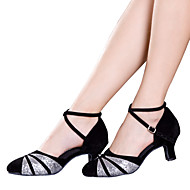 Women's Dance Shoes Latin Satin / Velvet / Sparkling Glitter / Paillette / Synthetic Cuban HeelBlack / Red / Silver /