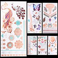 6 מדבקות קעקועים סדרת תכשיטים סדרת בעלי חיים סדרות פרחים סדרת Totem אחריםNon Toxic תבנית חג ליל כל הקדושים נצנוץ קריסטל Hawaiian גב תחתון