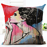 Novelty Makeup Lady Pattern Linen Pillowcase Sofa Home Decor Cushion Cover (18*18inch)