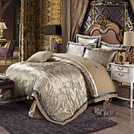 Fashionable  Queen King Size Bedding Set Luxury Silk Cotton Blend Duvet Cover Sets