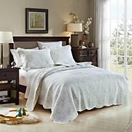 100% pamut hímzett virágos 3 db steppelt ágytakaró szett, 2 színű, nagyméretű