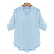 Women's Casual/Daily Street chic Summer Blouse,Solid Stand ½ Length Sleeve Blue / Pink / Beige / Black Polyester Medium