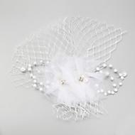 Donne / Bambina Piume / Perle false / A rete Copricapo-Matrimonio / Occasioni speciali Copricapo 1 pezzo Bianco Cerchio