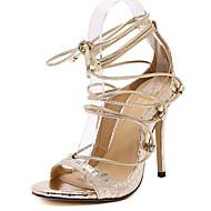 Sandály-Koženka-Podpatky-Dámská obuv-Černá / Stříbrná / Zlatá-Party-Vysoký